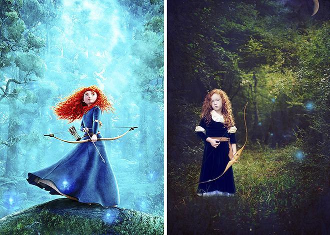 Nàng công chúa tóc xù Brave phiên bản hoạt họa và ngoài đời.
