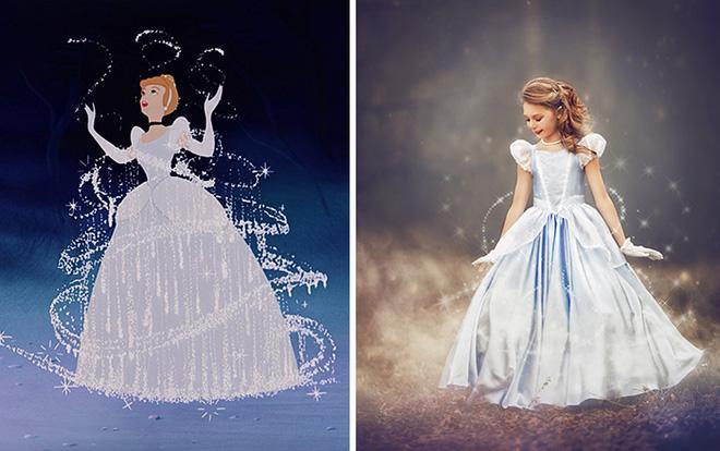 Nữ nhiếp ảnh gia đã đặt bức hình hoạt hình gốc bên cạnh bức ảnh và chỉnh sửa chúng sao cho giống hoạt cảnh Disney nhất có thể.