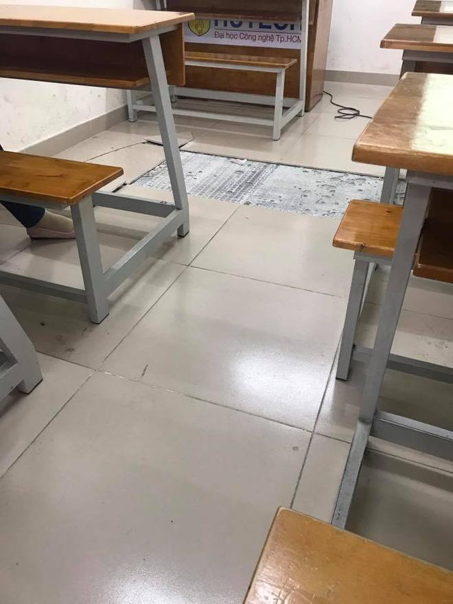 Nền nhà bong tróc được sinh viên chụp lại. Ảnh: Fanpage Sinh viên Hutech.