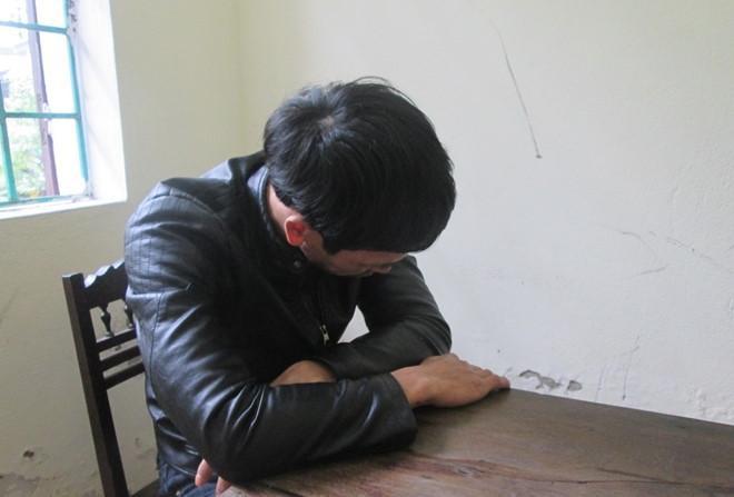 Đối tượng Nguyễn Thanh Văn tại cơ quan công an (ảnh H.T)