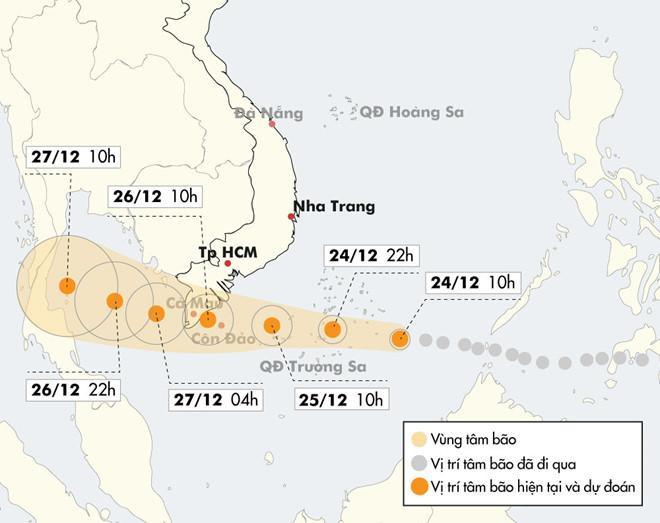 Vị trí và hướng di chuyển của bão số 16. Dữ liệu: NCHMF. Đồ hoạ: Nhân Lê.