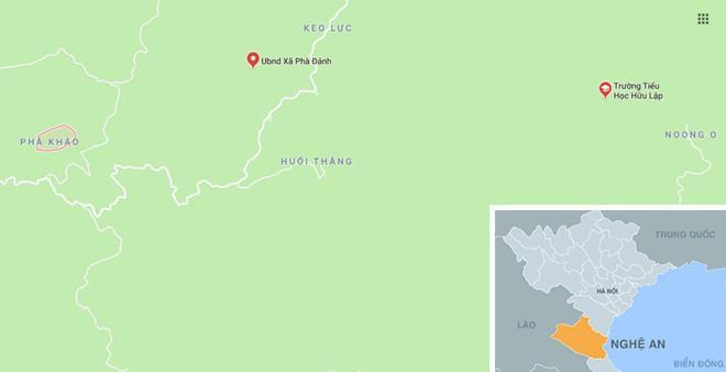 Bản Phà Kháo (khoanh đỏ), nơi xảy ra sự việc. Ảnh:Google Maps.