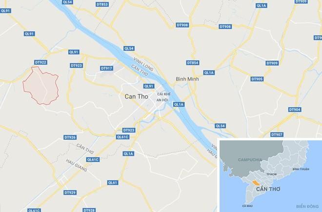 Xã Định Môn (màu đỏ) ở Cần Thơ. Ảnh:Google Maps.