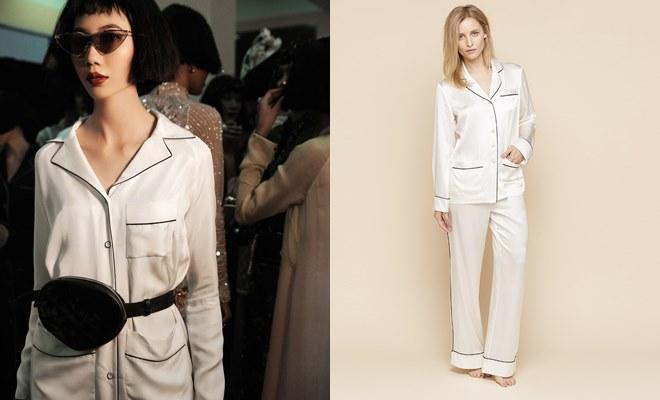 Tìm điểm khác nhau giữa chiếc áo mới được trình diễn và bộ áo ngủ pijama (bên phải).