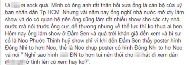 Noo bị tố hủy show và có những lời lẽ khiếm nhã dành cho Đông Nhi.
