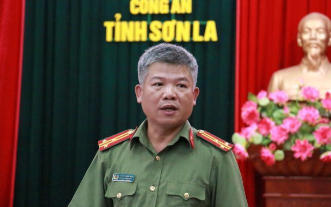 Thượng tá Trần Thanh Sơn, Trưởng phòng tham mưu (Công an tỉnh Sơn La) thông tin vụ chuyên án đặc biệt.