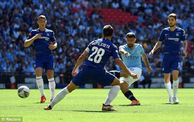 Aguero ghi bàn mở tỉ số trận đấu. Ảnh: Reuters.