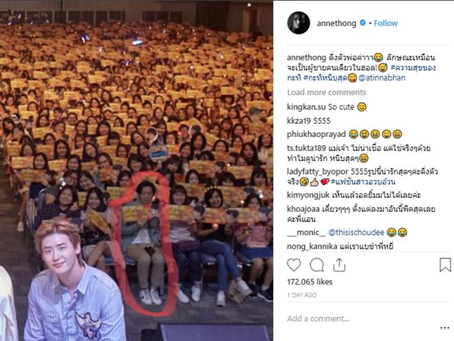 """Bạn trai của Anne Thongprasom là fan ruột của """"oppa"""" Lee Jong Suk."""