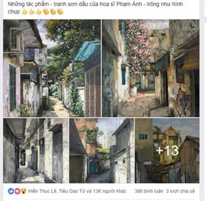 Những bức tranh đẹp như ảnh chụp của họa sĩ Phạm Ánh gây sốt cư dân mạng