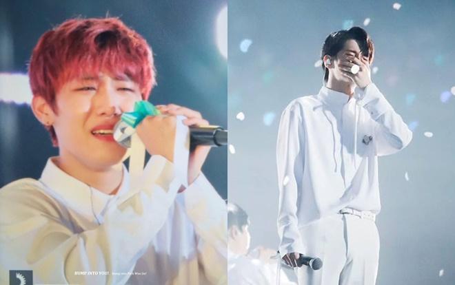 Ong Seungwoo và Woojin là 2 thành viên suốt ngày cười nói vui vẻ là thế nhưng cũng khóc rất nhiều trong concert.