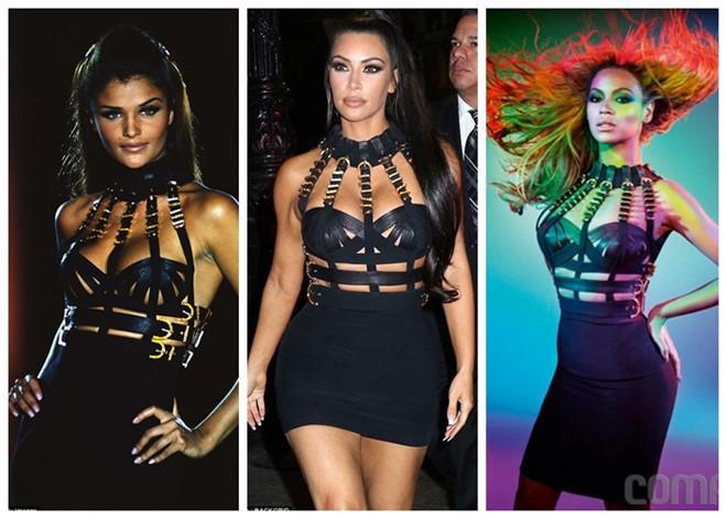 Chiếc váy này còn được siêu mẫu Helena Christensen (trái) và ca sĩ Beyonce ( phải) từng diện trước đó và đã có lần Kim cũng bị so sánh với hai người đẹp này khi diện cùng một kiểu váy