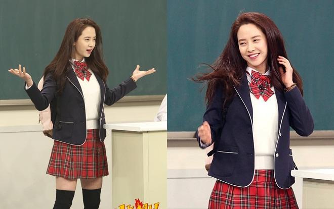 """""""Nữ thần"""" Song Ji Hyo (37 tuổi) của chương trình """"Running Man"""" đã xuất hiện trong show """"Knowing Brother"""" đài JTBC để quảng bá cho dự án điện ảnh """"Wind Wind Wind"""" trong năm 2018."""