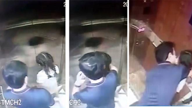 Toàn bộ hành vi của ông Nguyễn Hữu Linh trong thang máy được camera an ninh ghi lại.