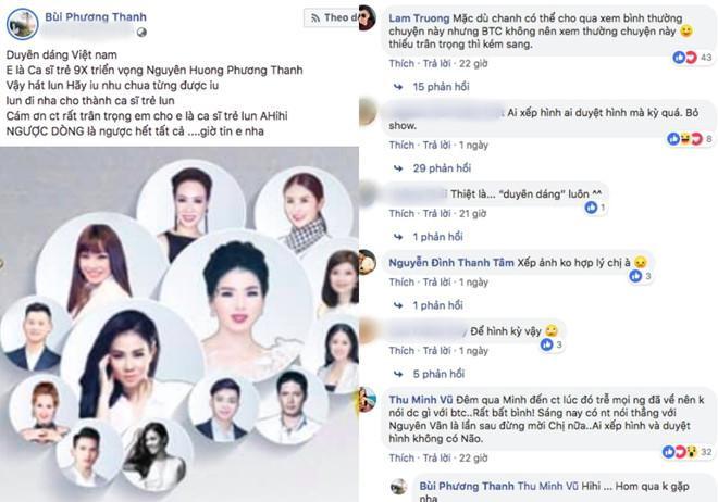 Dòng trạng thái của nữ ca sĩ Phương Thanh tại Duyên dáng Việt Nam lần thứ 30.