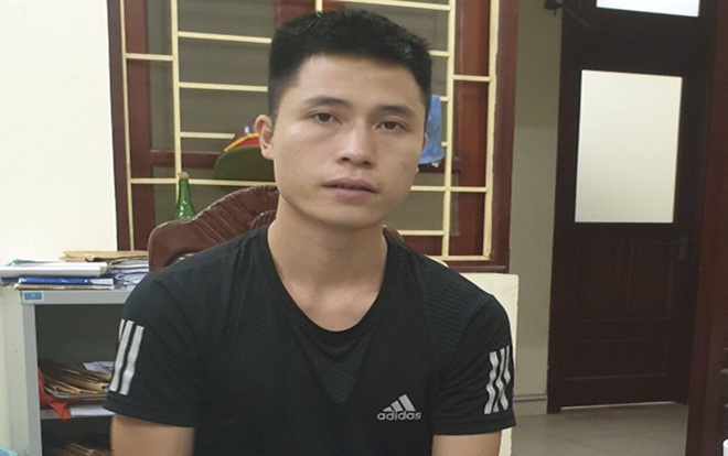 Đối tượng Nguyễn Duy Cường tại cơ quan công an.