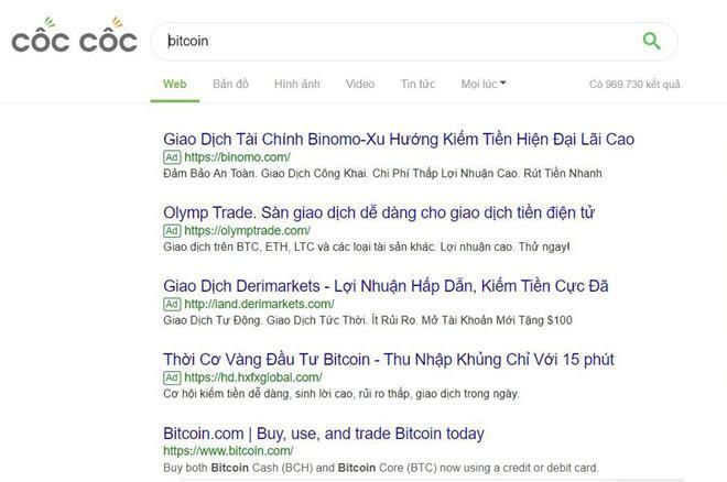 Ngoài ra, Binomo cũng chi tiền mua từ khóa rất mạnh tay. Trên công cụ tìm kiếm của trình duyệt Cốc Cốc, các từ khóa liên quan đến tiền kỹ thuật số, chứng khoán, hối đoái, ngoại tệ đều dẫn về trang Binomo.