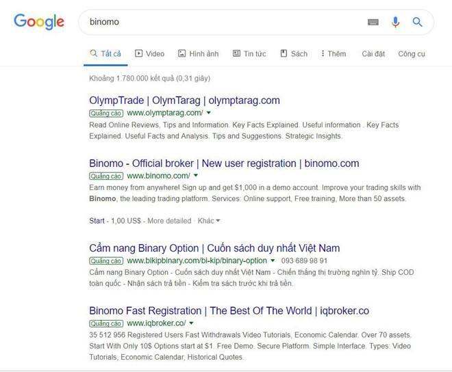 Tình trạng mua từ khóa cũng xuất hiện trên Google Search. Ngoài Binomo, các ứng dụng mô hình cá cược tương tự như Olymptrade, Bikibinary, Iqbroker… cũng mua từ khóa trên Google.