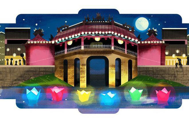 Phố cổ hội An xuất hiện lần đầu tiên trên thanh Google Doodle. (Ảnh: Google)