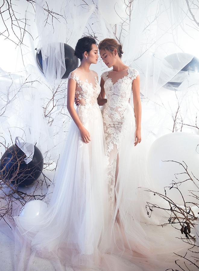Đầm cưới ren xòe chữ A hay ôm sát đều mang đến vẻ đẹp lãng mạn và lộng lẫy