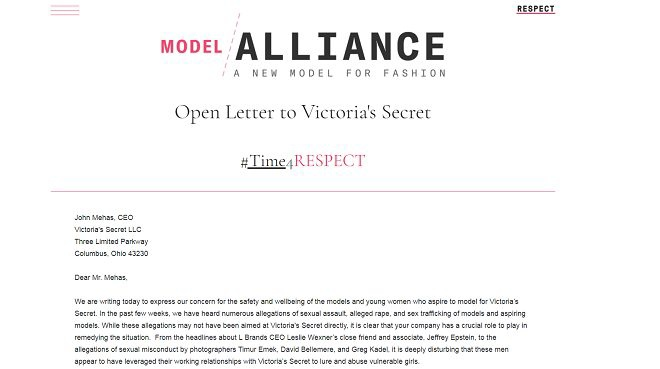 Bức thư gửi đến CEO Victoria's Secret của tổ chức Model Alliance nhằm bảo vệ quyền lợi của người mẫu.