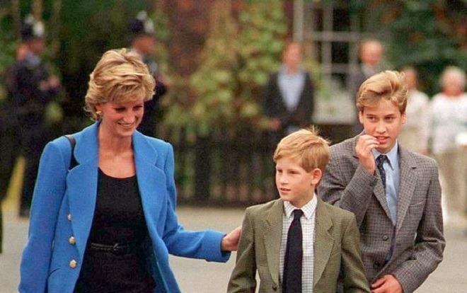Công nương Diana và hai con trai.
