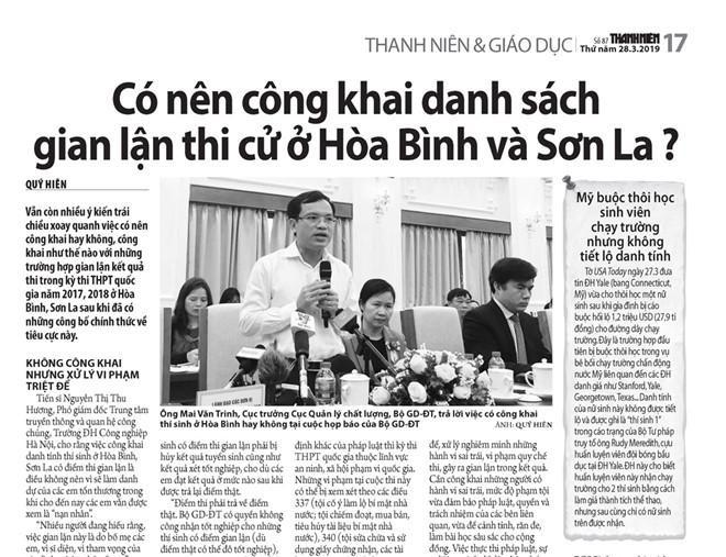 Vụ gian lận điểm thi năm 2018 ở 3 tỉnh Sơn La, Hòa Bình, Hà Giang khiến Bộ GD-ĐT có văn bản xem xét kỷ luật 13 cán bộ nhưng nay đã rút lại.