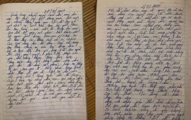 Bức tâm thư dạng nhật ký ông Hồng để lại nói về những uất ức khi đòi tiền nợ không trả.