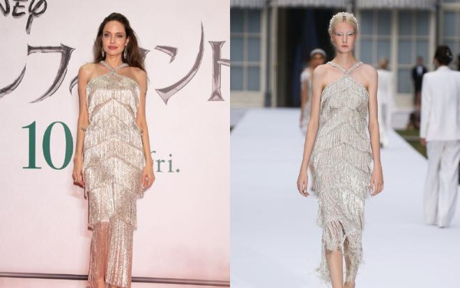 """Trước đó, mẫu váy tua rua lấp lánh của Ralph & Russo của Angelina Jolie """"gây sốt"""" khi nhìn cô lộng lẫy như một bà hoàng đẹp lấn át hơn cả mẫu gốc"""