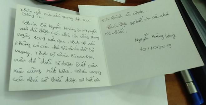 """Trong bức thư tay gửi lời cảm ơn đến các chiến sĩ Phòng cháy Chữa cháy quận Đống Đa, Hà Nội, Hoàng Giang viết: """"Thực sự nếu không có các chú, cháu đã bỏ mạng. Cháu là con trai nên để diễn tả hết cảm xúc cũng rất khó. Cháu mong các chú sẽ hiểu được sự biết ơn chân thành của cháu"""". Ảnh: NVCC."""