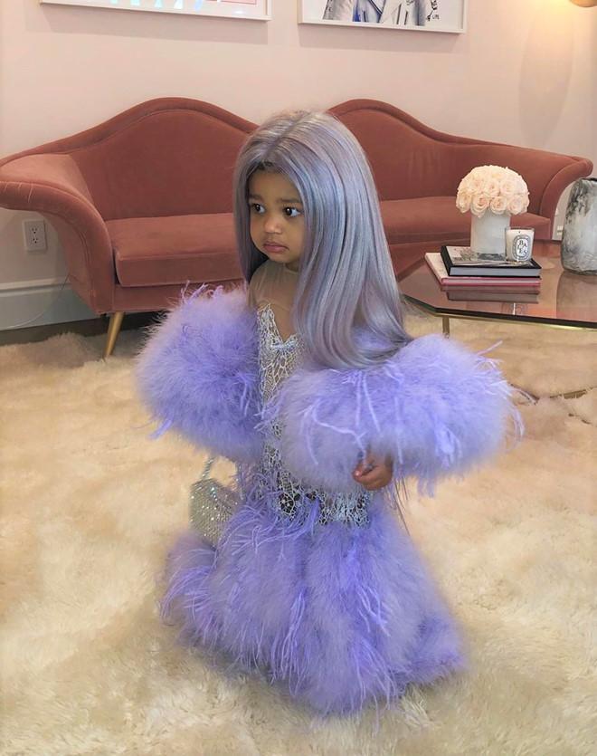 Mới đây, cô con gái cưng của Kylie Jenner hóa trang thành chính mẹ mình trong kiểu váy tím tua rua như một nàng tiên cá mini bé nhỏ
