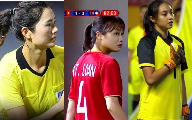 Đó là trọng tài biên người Trung Quốc –Xie Lijun , cầu thủ nữ Hoàng Thị Loan và thủ môn của tuyển nữ Phlippines –Inna Palacios.