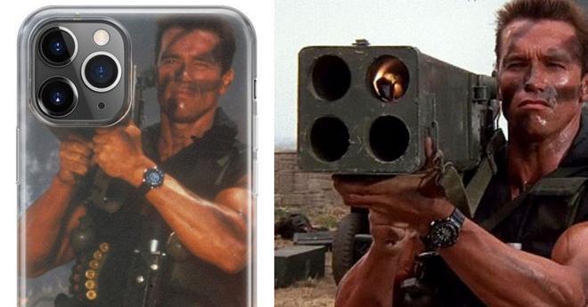 """Hình ảnh nam diên viênArnold Schwarzenegger đang mang trên vai một khẩu tên lửa """"siêu to khổng lồ"""" được chế lại thành camera trên iPhone 11."""