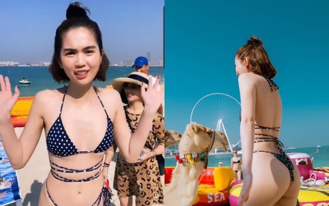 Dáng bikini mà Chi Pu mặc hao hao giống Ngọc Trinh mặc lúc trước, hiện nay có vẻ dàn mỹ nhân Việt ngày càng ưa chuộng dáng đồ tắm có quần lọt khe để khoe vòng ba căng đầy của mình