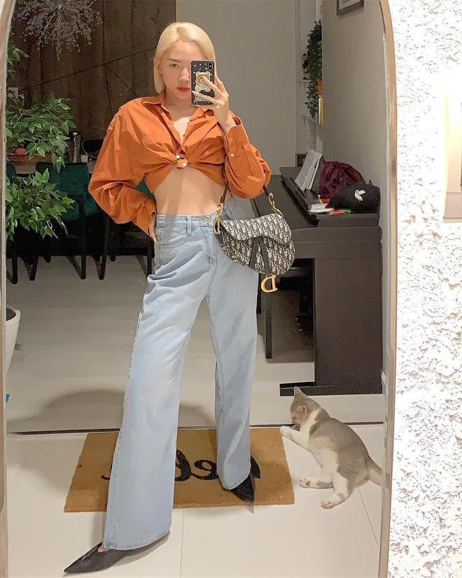 """Mẫu Dior Saddle Bag từng được ưa chuộng trong đầu năm 2019 khi loạt sao và fashionista thế giới mê mẩn, Tóc Tiên cũng không nằm ngoài trend, nhanh chóng update """"khoe khéo"""" trong bức ảnh selfie. Giá hiện tại của dòng túi này là 70 triệu đồng."""