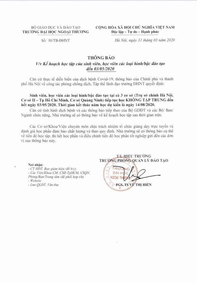 Thông báo của ĐH Ngoại Thương về việc kết thúc năm học dự kiến vào ngày 14/08/2020.
