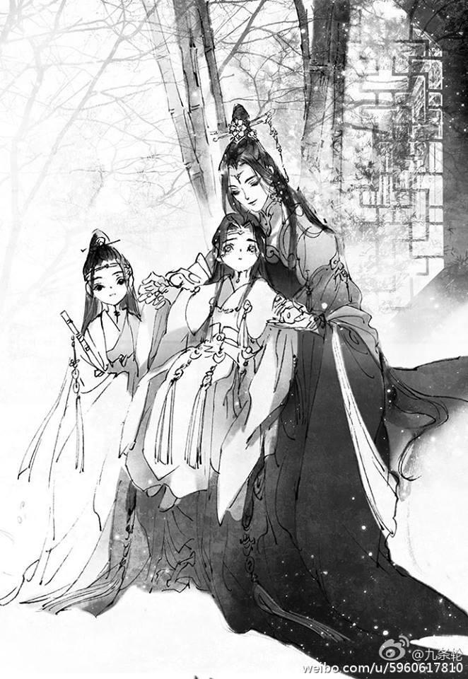 Fanart của họa sĩ 九条轮 về Lam phu nhân và hai anh em Lam gia