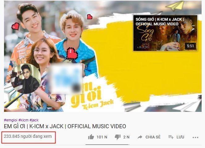 Số lượt người xem trực tuyến tại thời điểm MV Em gì ơi lên sóng.
