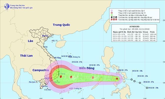 Đường đi của áp thấp nhiệt đới. Ảnh: TTXVN