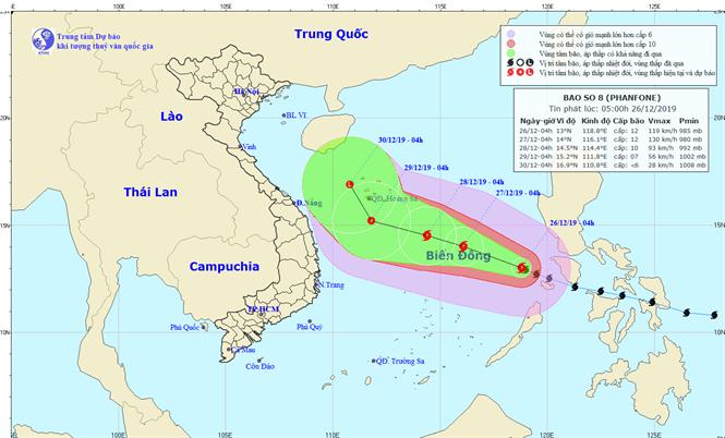 Dự báo đường đi của bão số 8. Ảnh: Trung tâm Dự báo Khí tượng Thủy văn Quốc gia