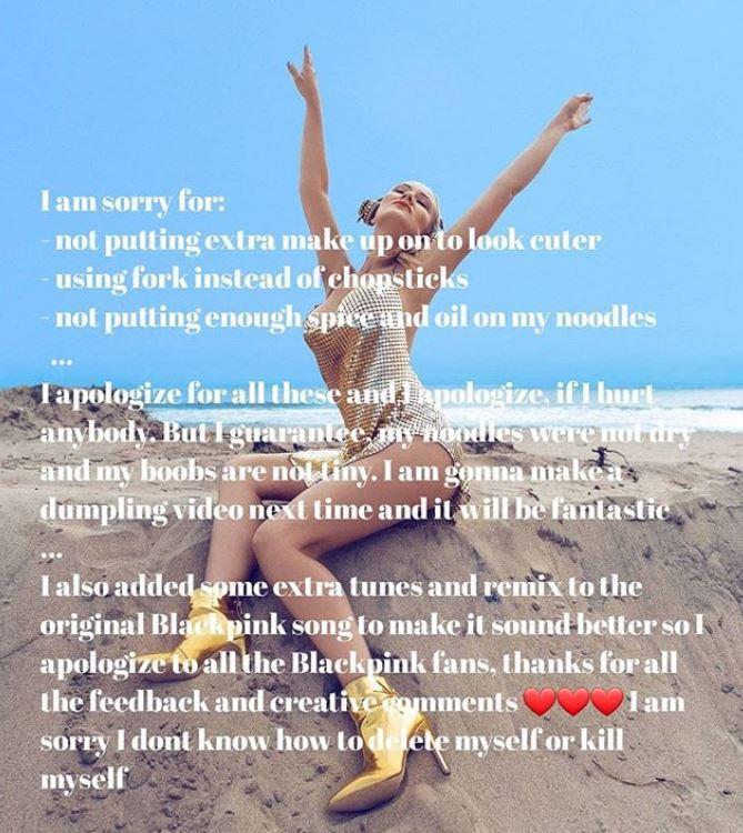 DJ Sofia Valentini xin lỗi BlackPink và fan KPop trên trang cá nhân.