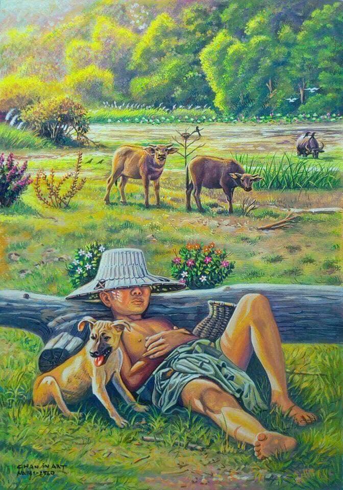 Với đám trẻ chăn trâu ngày ấy, một giấc ngủ vội vào giữa trưa chính là một giấc ngủ rất ngon!