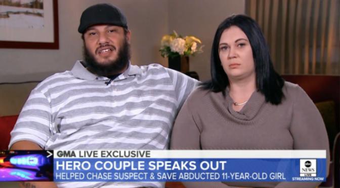 Benny Correa (trái) vàAmanda Disley (phải) đã kiên trì đuổi theo tên bắt cóc.