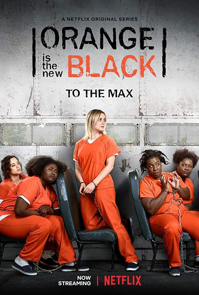 """Poster hai màu đen và cam nổi bật của """"Orange Is The New Black""""."""