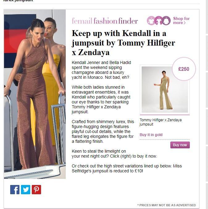 Trang phục của Kendall Jenner đã nhanh chóng được cư dân mạng săn lùng, được biết đây là jumpsuit của thương hiệu Tommy Hilfiger thuộc BST Zendaya X Tommy Hilfiger