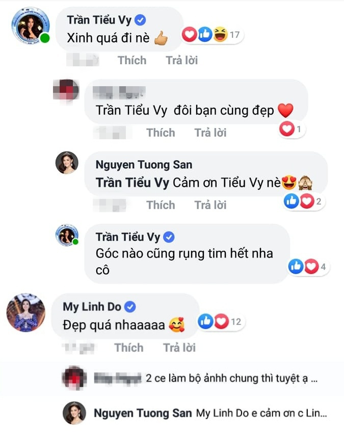 Cả Đỗ Mỹ Linh và Trần Tiểu Vy đều để lại bình luận khen ngợi nhan sắc của Tường San.