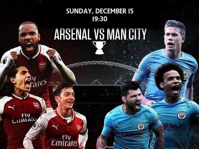 Theo lịch thi đấu bóng đá hôm ngày 15/12,Arsenal gặp Man City.