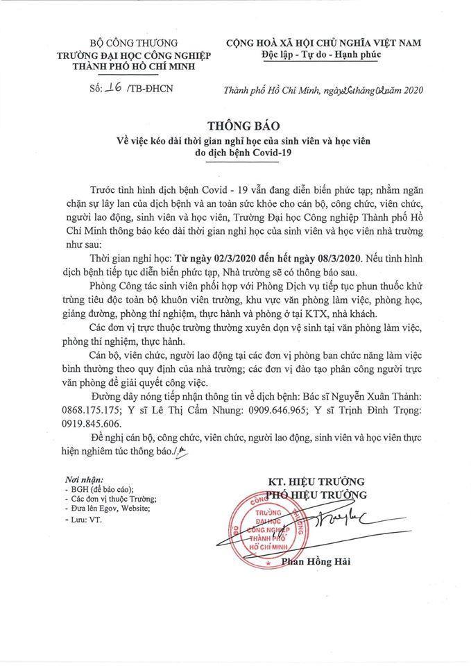 Thông báo của trường ĐH Công nghiệp TP.HCM