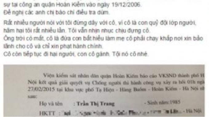 """Status kèm """"bằng chứng"""" cho thấy Trang Trần từng vướng tiền sự đánh bạc do Dương Yến Ngọc chia sẻ trên trang cá nhân."""