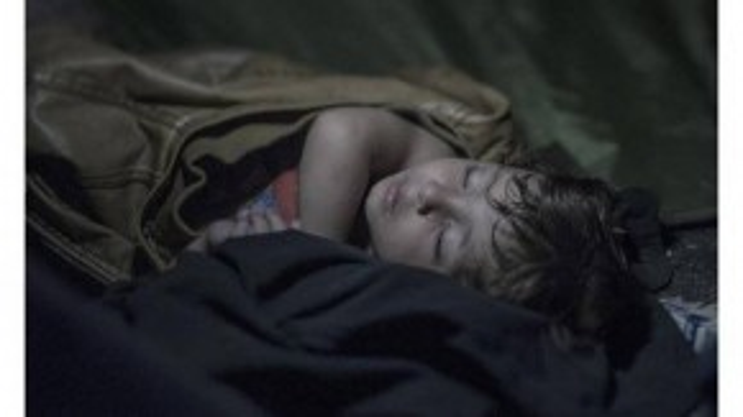 Mahdi, 1 tuổi rưỡi, nằm ngủ ngon lành trong chiếc áo khoác của cha. Xung quanh em mọi người biểu tình chống lại cảnh sát Hungary chặn biên giới. Khói cay và vòi rồng ngoài kia chắc không có mặt trong giấc mơ của em.