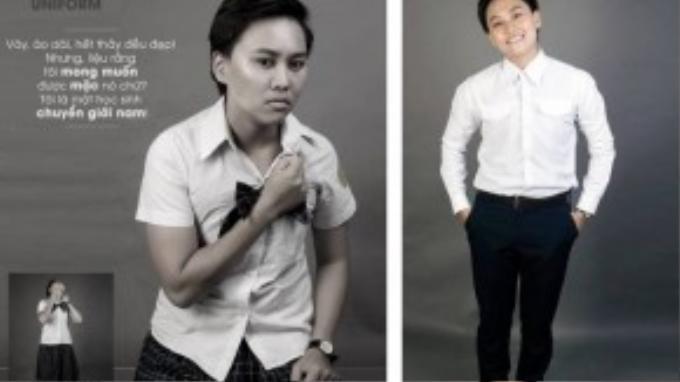 Hoàng Giang (1994) cựu sinh viên trường cao đẳng Sonadezi (Đồng Nai). Giang mong muốn sau bộ ảnh này phụ huynh và nhà trường sẽ thấu hiểu cho những người con là chuyển giới nam mà phải đến trường bằng trang phục không dành cho mình.